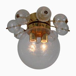 Großer Messing Kronleuchter mit mundgeblasenem Glas, 1960er