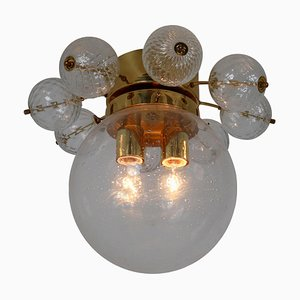 Large Brass Chandelier with Hand Blown Glass, 1960s