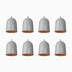 Small German Modern White Coated Pendant Lamps, 1970s, Set of 8