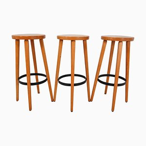 Scandinavian Barstools in Blond Bleach, 1970s, Set of 3
