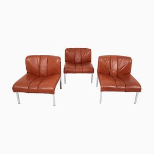 Swiss Cognac Leather Sofa by Girsberger, 1970s, Set of 3