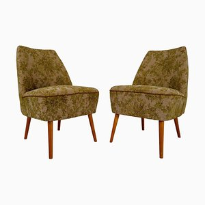Swiss Cocktail Club Chairs in Original Green Fabric, 1950s, Set of 2
