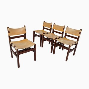 French Beech and Leather Dining Chairs, 1960s, Set of 4