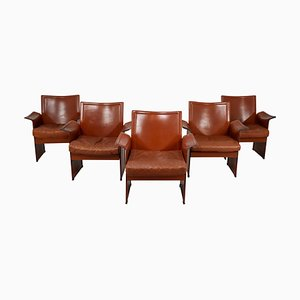 Italian Korium Chairs in Patinated Cognac Leather by Tito Agnoli for Matteo Grassi, 1970s