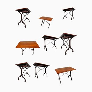 French Cast Iron Bistro Tables with Patinated Oak Top, 1900s, Set of 9