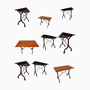 Tables de Bistrot en Fonte avec Plateau en Chêne Patiné, France, 1900s, Set de 9