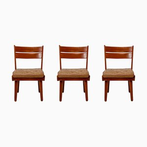 Mid-Century Chairs in Walnut and Leather, Austria, 1950s