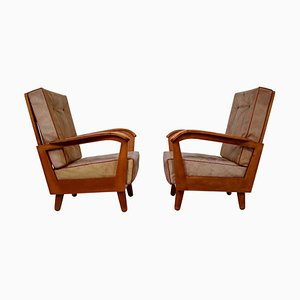 Austrian Armchairs in Walnut and Leather, 1950s
