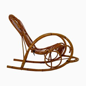 French Wicker Bamboo Rocking Chair, 1960s