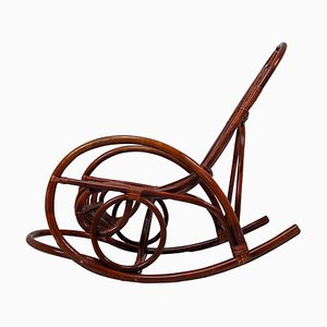 French Wicker Brown Bamboo Rocking Chair, 1960s