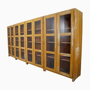 Large French Glazed Doors Display Cabinets in Original Paint, 1950s, Set of 4