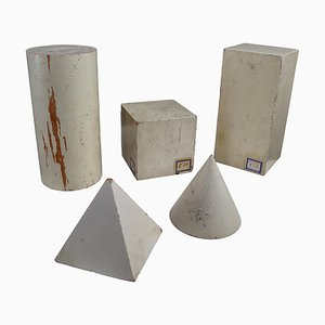 Sculptures Géométriques en Bois Patiné Blanc Peint, 1950s, Set de 5