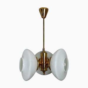 Austrian Chandelier with Brass Fixture and Opaline Glass, 1960s