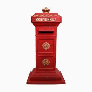 Vintage Duth Eisen Briefkasten in Rot und Gold