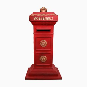 Vintage Duth Iron Mailbox in Red and Gold Paint