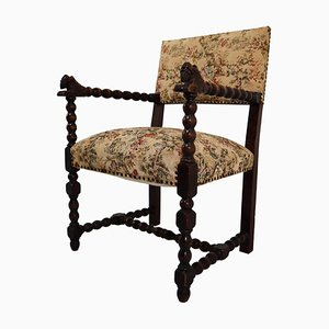 French Carved Oak Armchair with Original Fabric, 1870