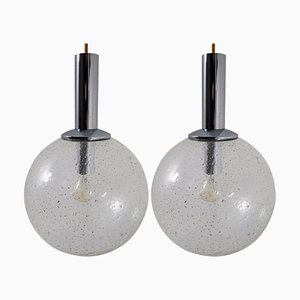 Deutsche Bubble Glas Hängelampen von Limburg, 1960er, 2er Set