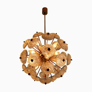 Brass Floral Chandelier in the Style of Emil Stejnar, 1960s