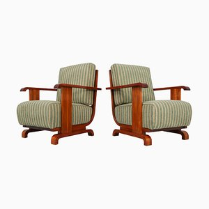Austrian Art Deco Walnut and Olive Green Velvet Blend Armchairs, 1930s, Set of 2