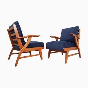 French Lounge Chairs with Sculptural Ash Wooden Frame, 1960s, Set of 2