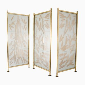 Brass Room Dividers in Bohemian Etched Art Glass, 1993, Set of 3