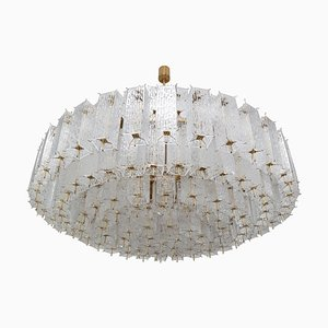 Large Brass Chandelier in Structured Glass, 1960s
