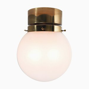 Ceiling Light with Brass Frame and White Frosted Glass Globe, 1970s