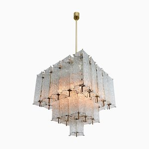 Large Austrian Chandelier in Structured Ice Glass and Brass, 1960s