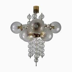 Large Chandelier with Brass Fixture and Structured Glass, 1970s