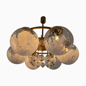 Large Hotel Chandelier in Brass and Decorated Art Glass, 1970s