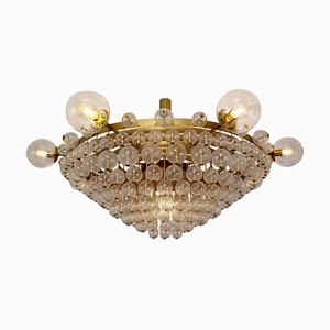 Large Hotel Chandelier with Brass Fixture and Structured Glass Globes, 1960s