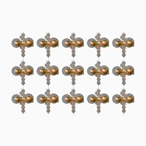 Hotel Wall Chandeliers with Brass Fixture, 1970s, Set of 15
