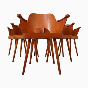 Blonde Bentwood Armchairs by Oswald Haerdtl for TON, 1960s, Set of 6