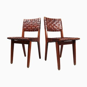 Woven Leather Model No. 666 Side Chairs by Jens Risom for Knoll, 1940s, Set of 2