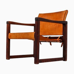 Safari Lounge Chair in Patinated Cognac Saddle Leather, 1970s