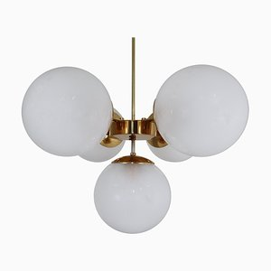 Brass Chandelier with Five Hand Blown Pearl Globes, 1970s