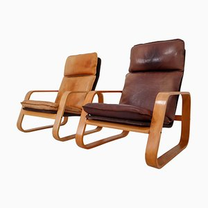 Französische Sessel aus patiniertem Leder & Bugholz, 1970er, 2er Set