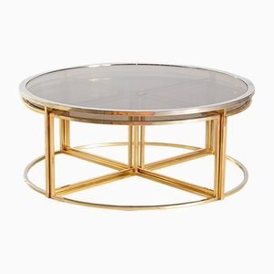Golden Framed Round Glass Coffee Table and Nesting Tables Set, 1960s, Set of 5