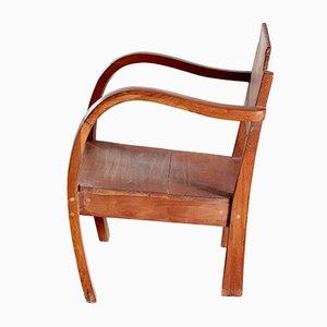 Kleiner Vintage Armlehnstuhl aus Holz, 1950er