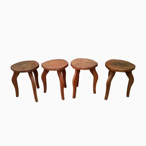 Solid Oak Stools, 1950s, Set of 4