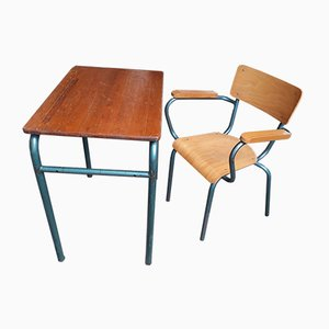 Mid-Century School Chair and Desk Set