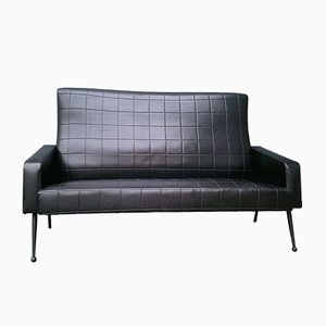 Vintage Black Leatherette Sofa, 1960s