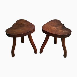 Brutalist Tripod Stools, 1950s, Set of 2