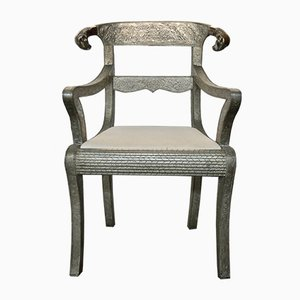 Vintage Silberfolie Armlehnstühle, 3er Set