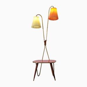 Vintage Stehlampe und Beistelltisch, 1950er