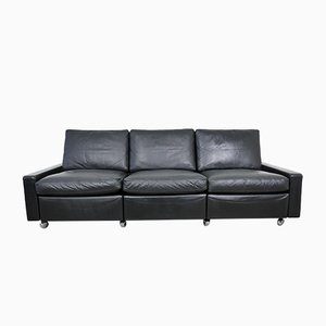 German Black Leather Conseta Sofa by F. W. Möller for Cor, 1960s
