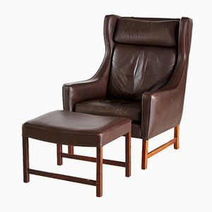 Leather Model 965H Armchairs by Fredrik Kayser for Vatne Møbler, 1960s, Set of 2