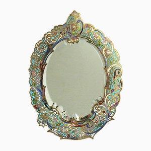 Small Antique Cloisonne Enamel Table Mirror