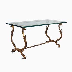 Table Basse Vintage en Fer Forgé Doré dans le Style de Gilbert Poillerat