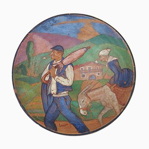 Vintage Painted Terracotta Dish Presenting a Scene in the Pays Basque Ountry by Lazard